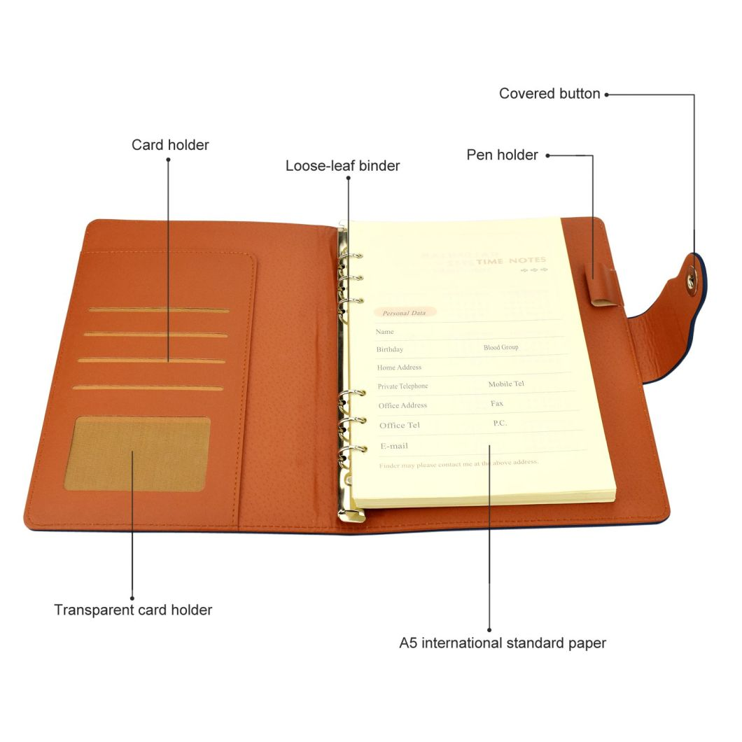 PUレザーノートブックと磁気バックル