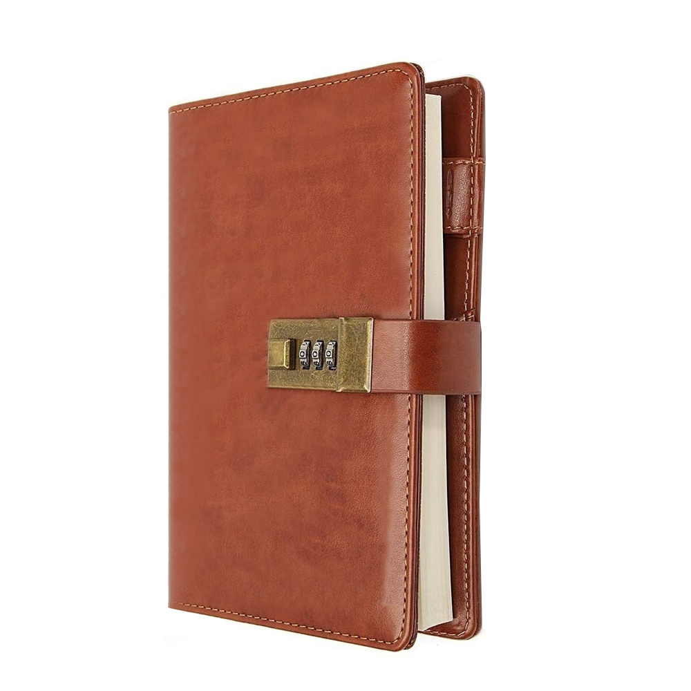 Password Notebook Portable Practical Leather Lock Diary